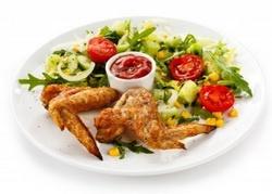 салат овощной, курица